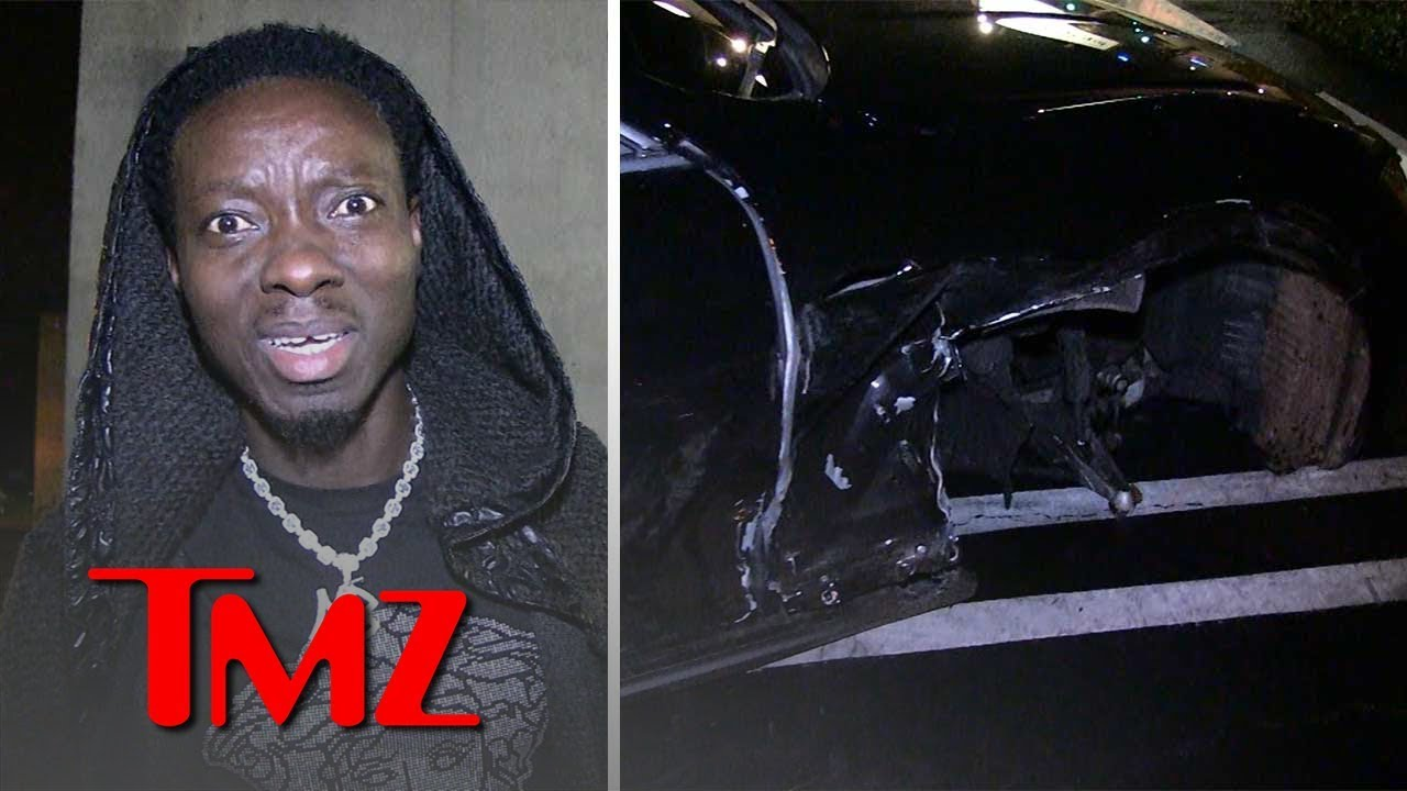 Michael Blackson's Rolls-Royce Smashed by Alleged Drunk Driver on 3 WHEELS | TMZ 5
