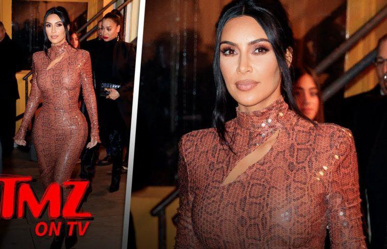 Kim Kardashian Looks INCREDIBLE In Skin Tight Snake Dress | TMZ TV 1