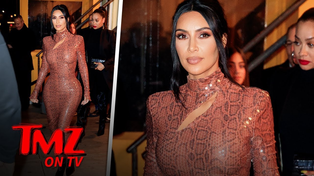 Kim Kardashian Looks INCREDIBLE In Skin Tight Snake Dress | TMZ TV 3
