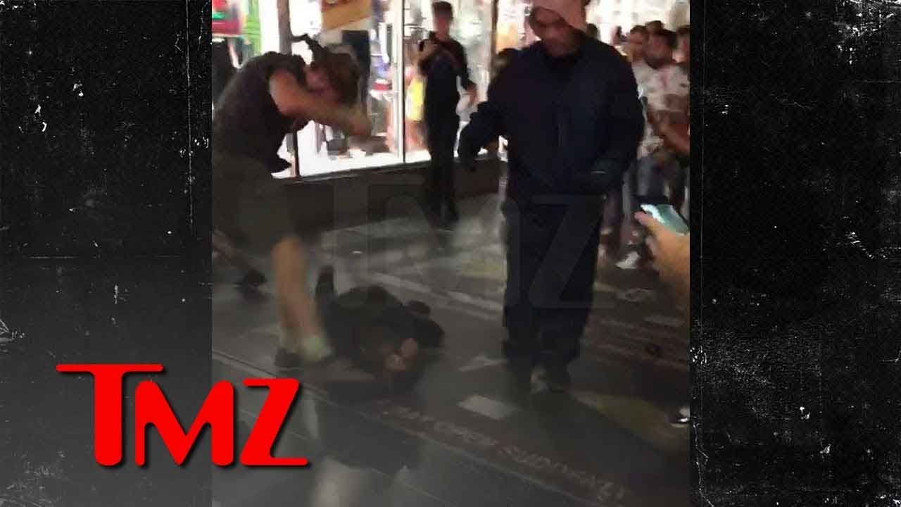 Brawl on Hollywood Walk of Fame on Donald Trump's Star 1