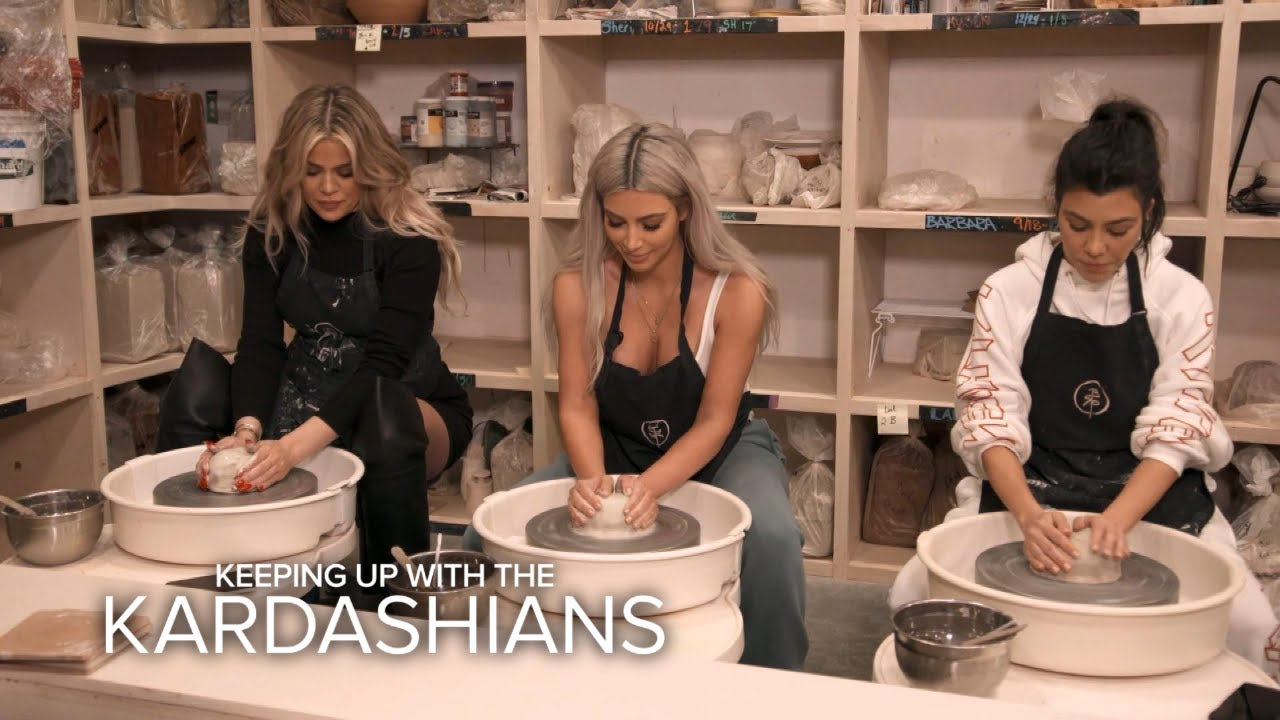 KUWTK | Kim, Khloé & Kourtney Kardashian Bond Creating Pottery | E! 4