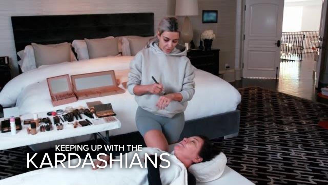 KUWTK | Kim Kardashian West Practices Mortician Makeup on Kris | E! 1