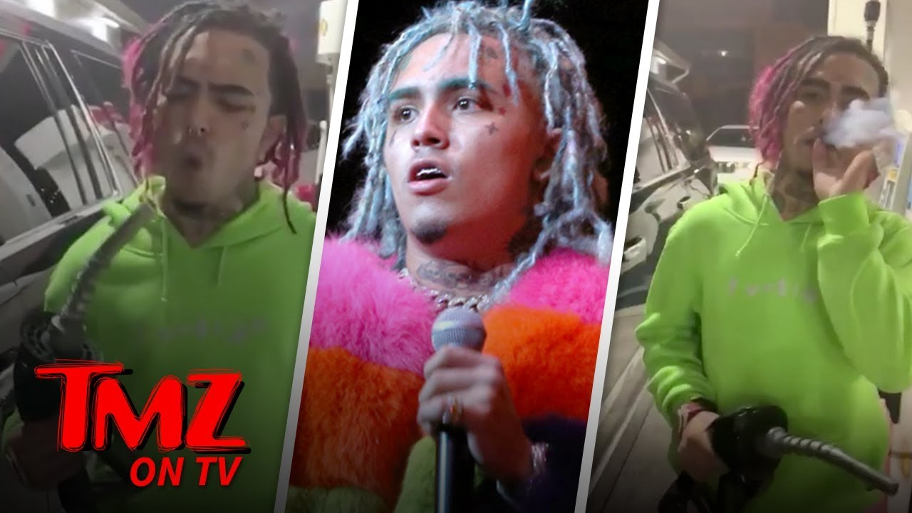 Lil Pump Smokes A Blunt While Pumping Gas | TMZ TV 1