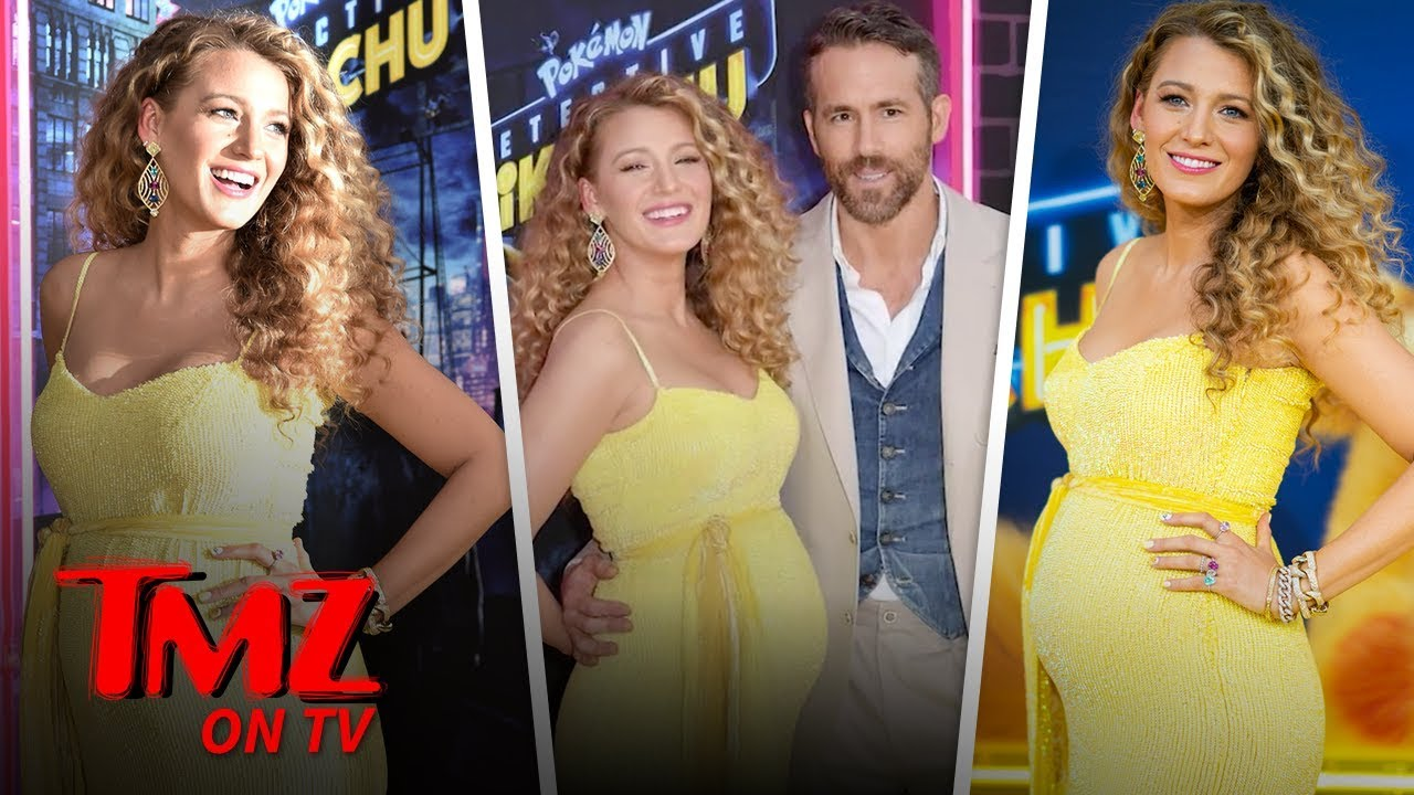 Blake Lively Super Pregnant on 'Pikachu' Red Carpet with Ryan Reynolds | TMZ TV 4