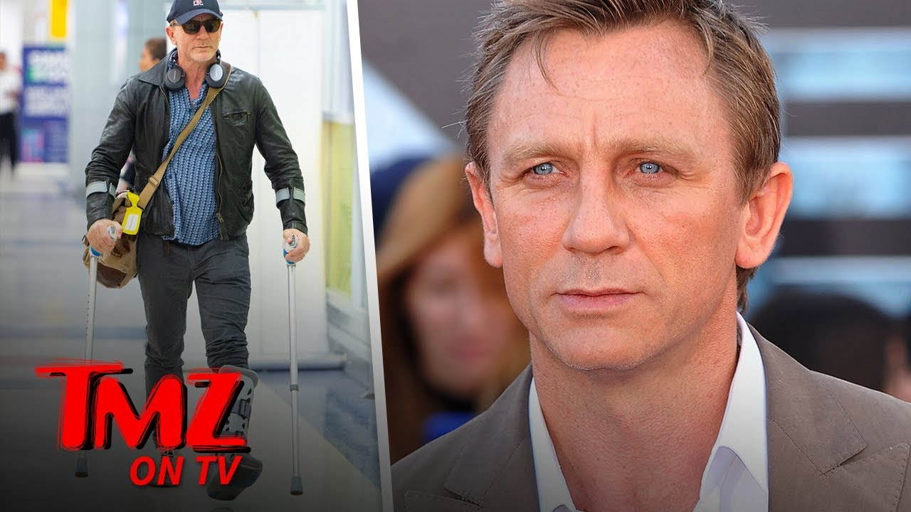 Daniel Craig's Walking on Crutches, Boot Following 'Bond 25' Injury | TMZ TV 4